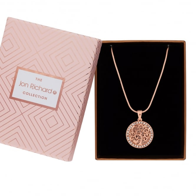 Jon Richard Rose Gold Plated Tree Of Life Necklace In A Gift Box