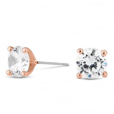 Rose gold round cubic zirconia stud earring