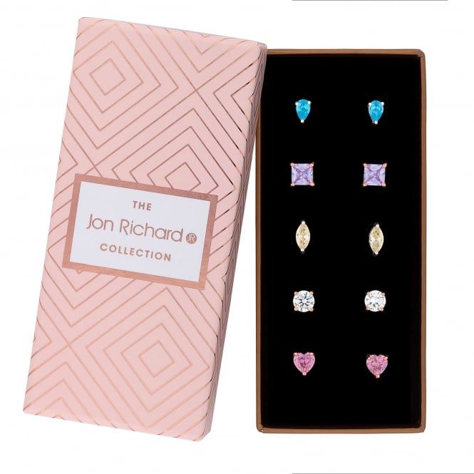 Jon Richard Rose Gold / Silver Plated Multi Shape Blue/ Purple/ Yellow/ Pink/ White Stud Earring Set In A Gift Box - Pack of 5