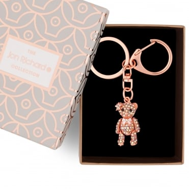 Rose gold teddy keyring