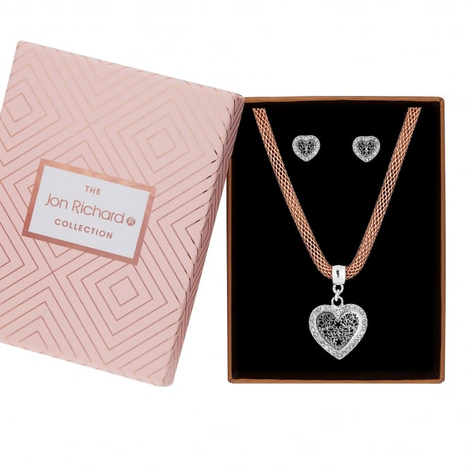 Jon Richard Rose Golf Mesh Necklace With Silver Plated Filigree Heart Jewellery Set In A Gift Box