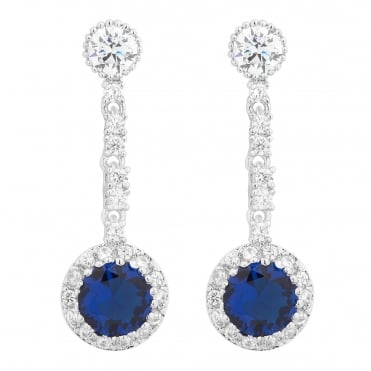 Round blue cubic zirconia stick drop earring