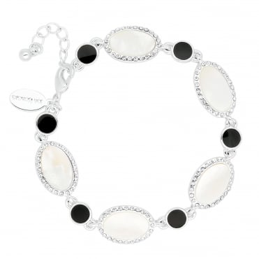 Round jet and mother of pearl oval link bracelet