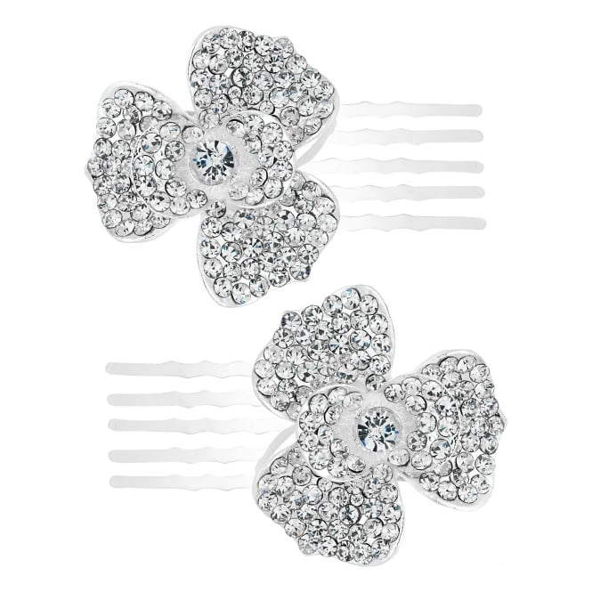 Set of two crystal embellished flower hair pins