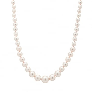 Short Pink Graduated Pearl Necklace