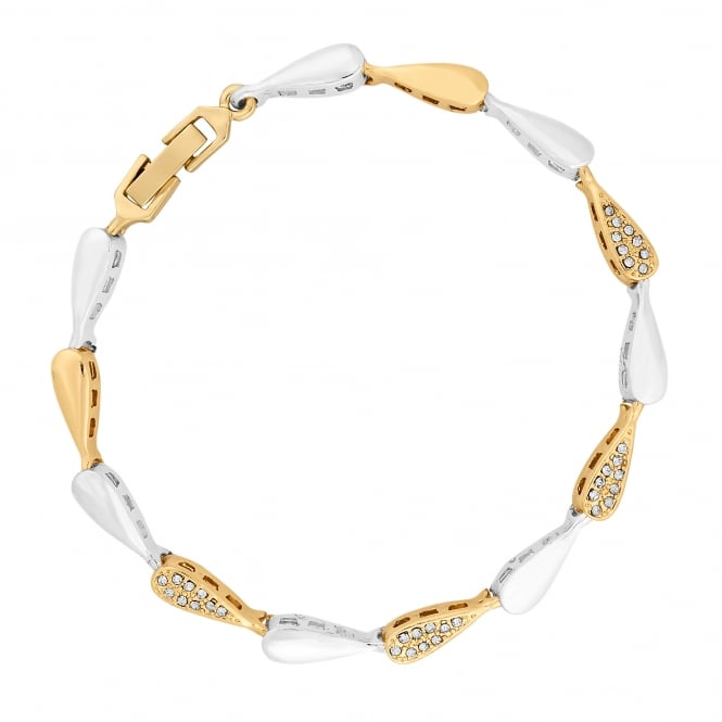 Silver And Gold Plated Multi Tone Pave Link Bracelet