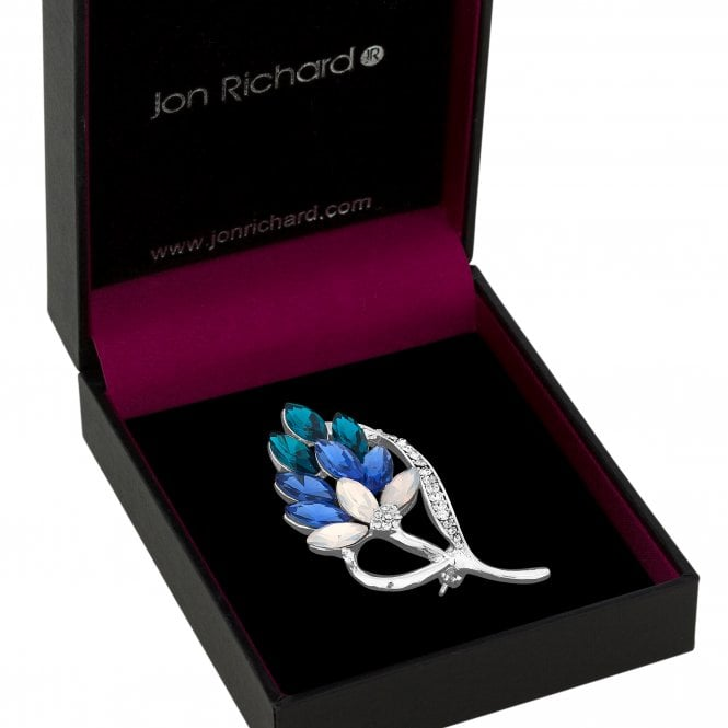 Silver Blue Crystal Floral Sprig Brooch