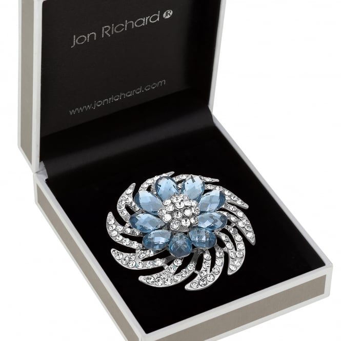 Silver Blue Crystal Spiral Brooch In A Gift Box