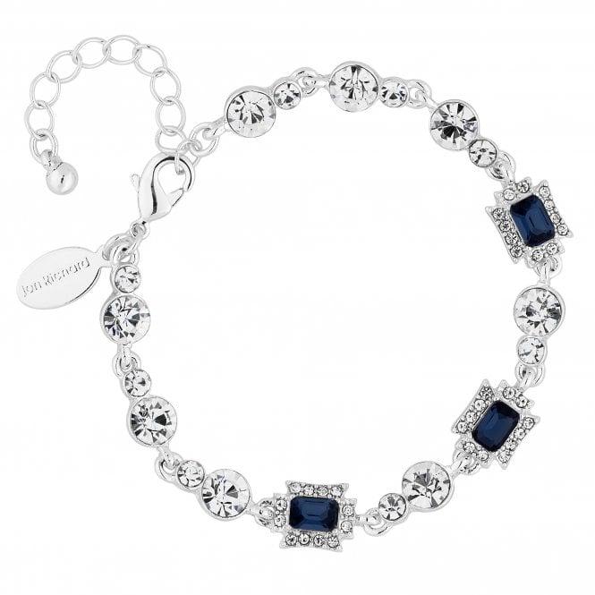 Silver Blue Crystal Square Bracelet