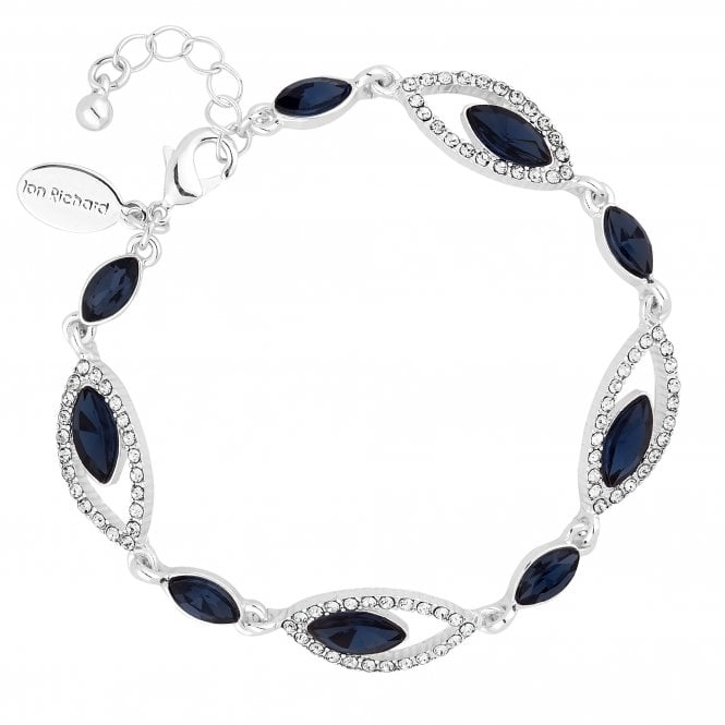 Silver Blue Crystal Statement Bracelet
