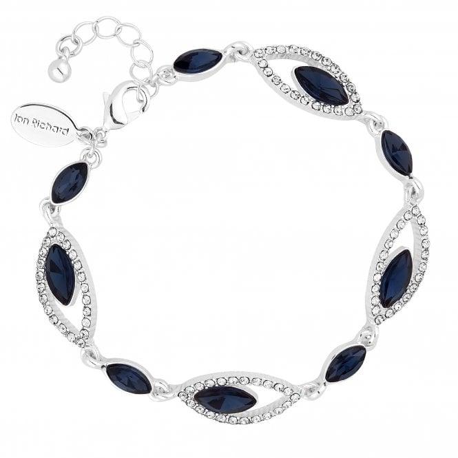 Silver Blue Crystal Statement Bracelet