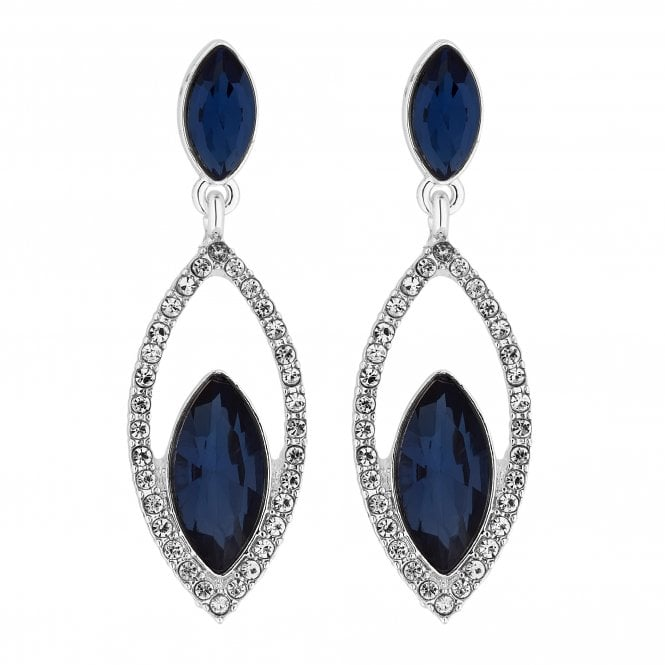 Silver Blue Crystal Statement Drop Earring