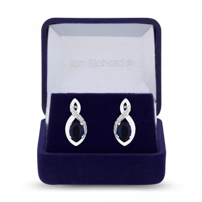 Silver Blue Cubic Zirconia Infinity Drop Earring