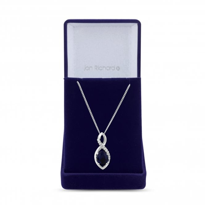 Silver Blue Cubic Zirconia Infinity Pendant Necklace