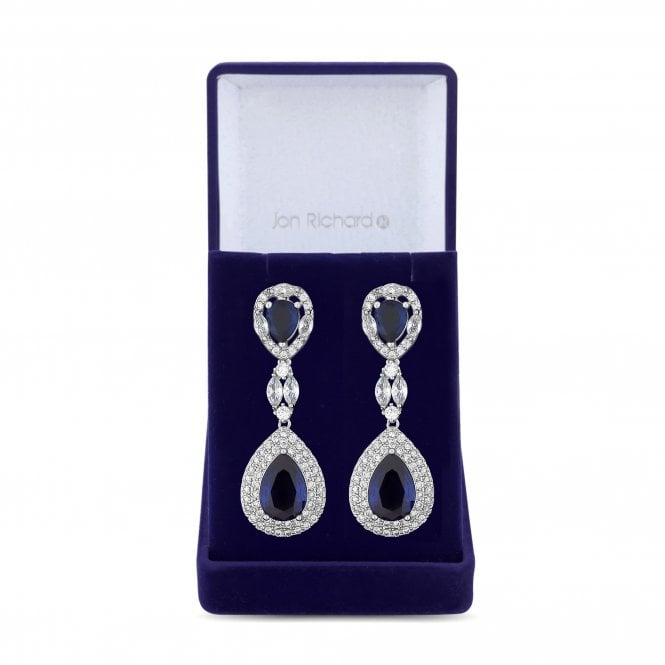 Silver Blue Cubic Zirconia Peardrop Drop Statement Earring