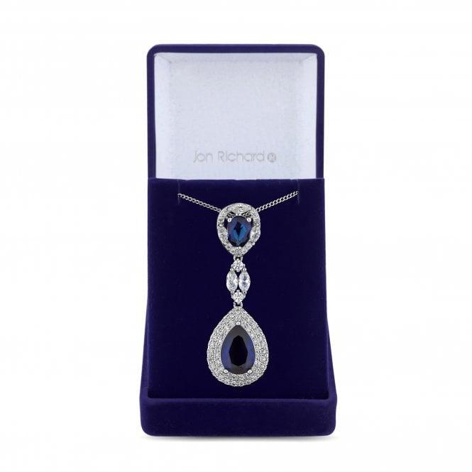 Silver Blue Cubic Zirconia Peardrop Pendant Necklace