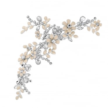 Silver Blush Painted Crystal Floral Hair Clip