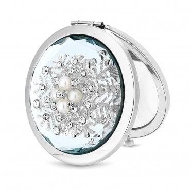 127b0479e79 Silver Cream And Pearl Snowflake Compact Mirror-Gift Boxed · Jon Richard ...