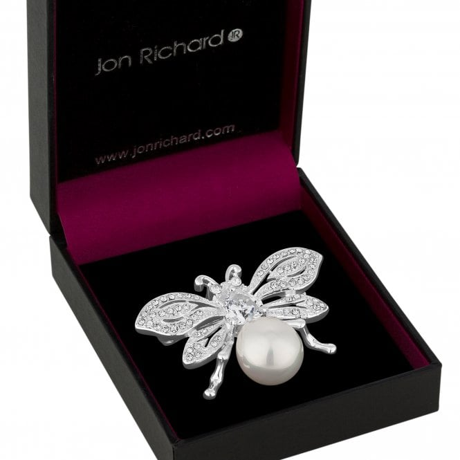 Silver Crystal And Pearl Bee Brooch
