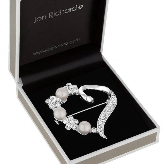 Jon Richard Silver Crystal And Pearl Floral Open Heart Brooch In A Gift Box