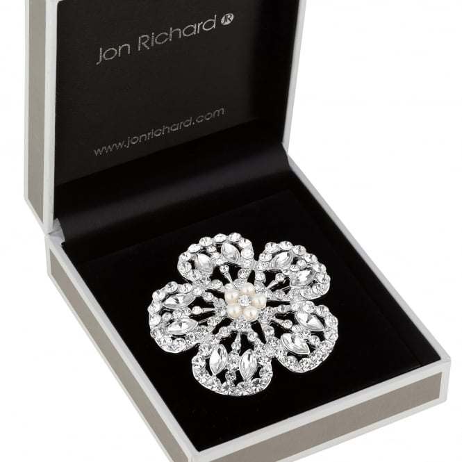 Silver Crystal And Pearl Flower Brooch In A Gift Box