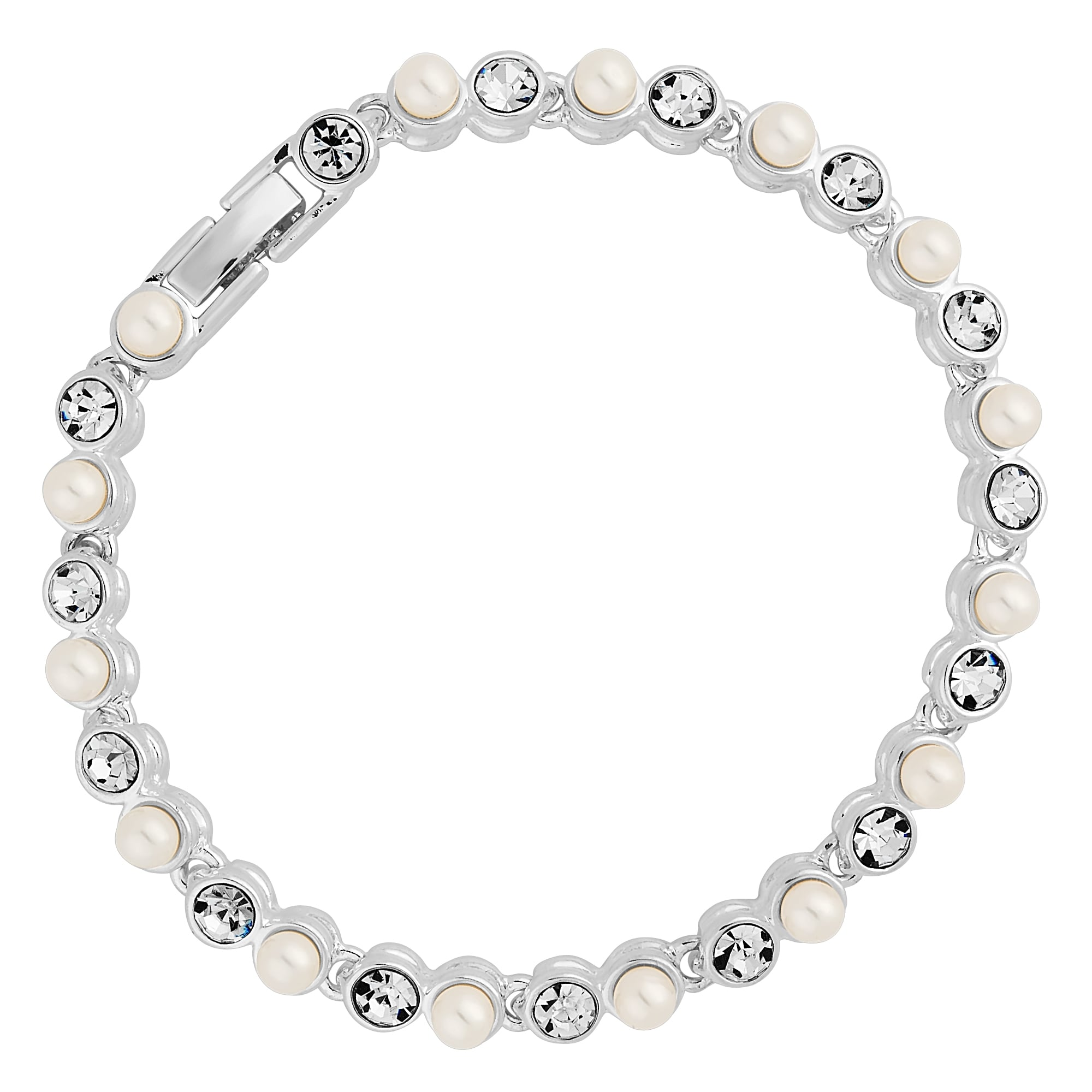 Silver Crystal And Pearl Tennis Bracelet