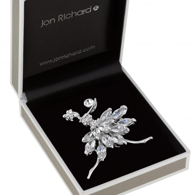Jon Richard Silver Crystal Ballerina Brooch In A Gift Box