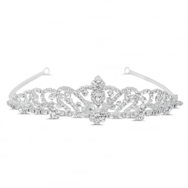 Silver Crystal Butterfly And Floral Embellished Tiara