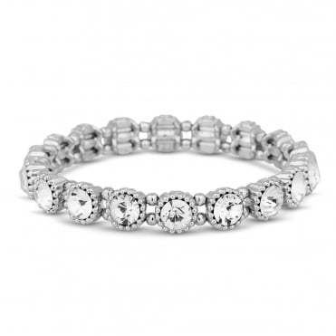 Silver crystal circle stretch bracelet