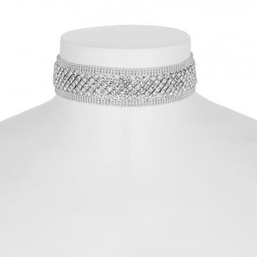 Silver crystal diamante choker