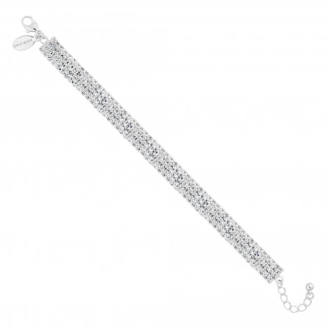 Silver Crystal Diamante Statement Bracelet