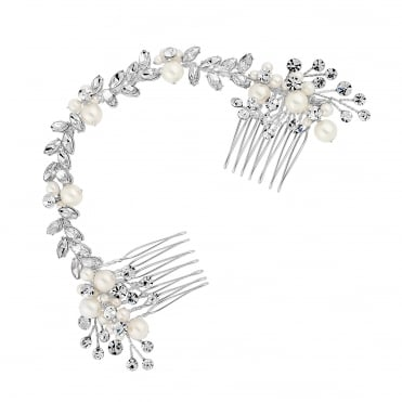 Silver crystal double hair comb