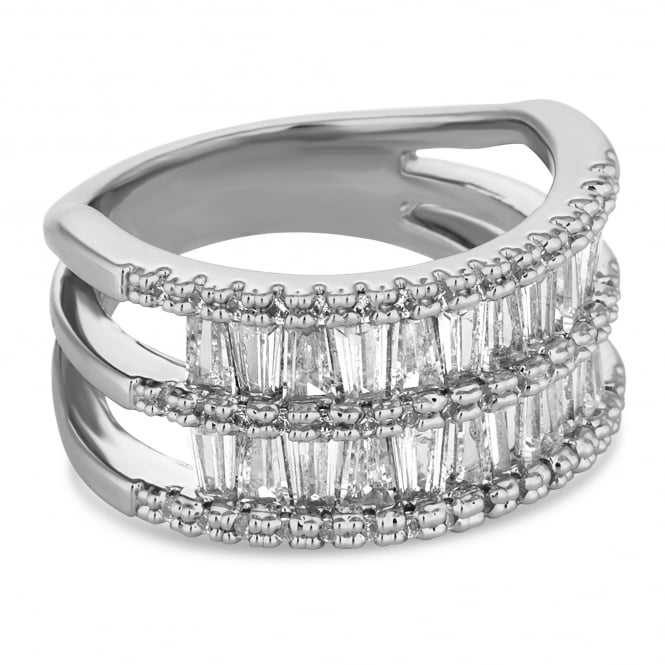 Silver crystal double row ring
