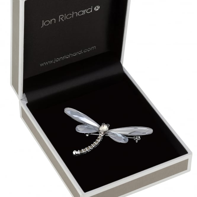 Jon Richard Silver Crystal Dragonfly Brooch In A Gift Box