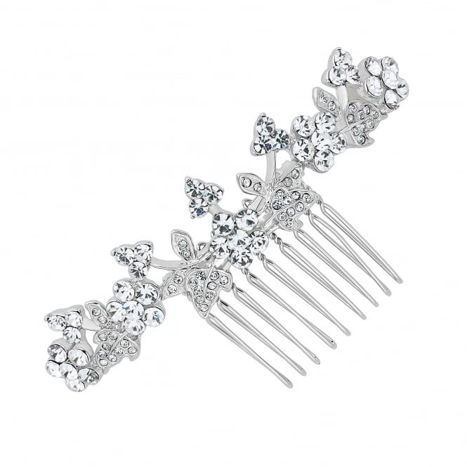 Silver Crystal Embellished Floral Hair Comb