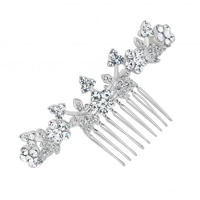 Silver Crystal Embellished Floral Hair Comb