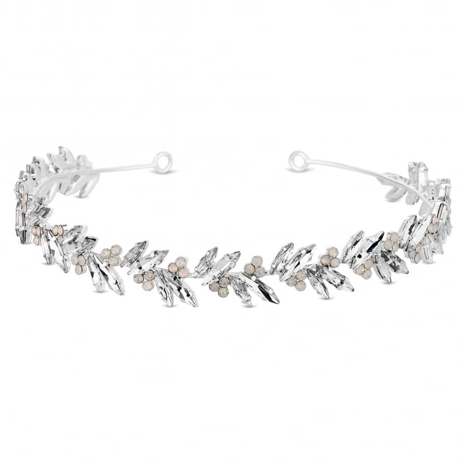 Silver Crystal Feather Headband