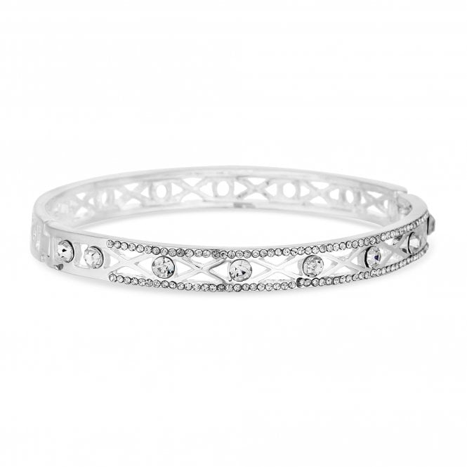 Silver Crystal Filigree Bangle