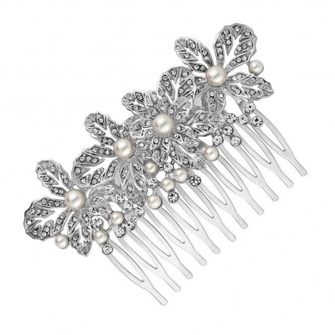 Silver Crystal Flower And Pearl Hair Comb