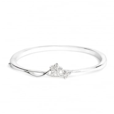 Silver crystal flower bangle