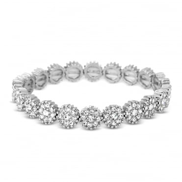Silver crystal flower stretch bracelet