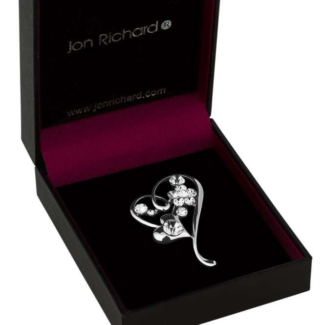 Jon Richard Silver Crystal Heart And Flower Brooch In A Gift Box