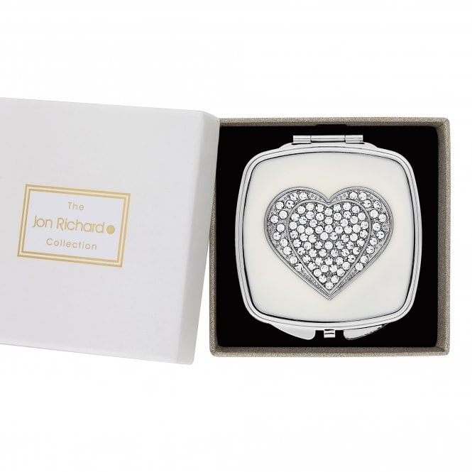 Silver Crystal Heart Compact Mirror