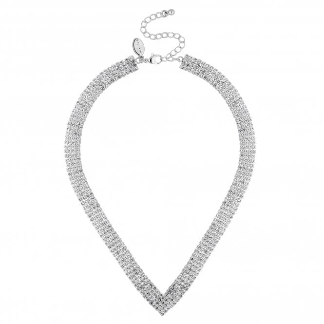 Silver Crystal Helena Diamante Statement Necklace