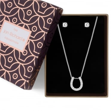 Silver crystal horseshoe necklace and earring set