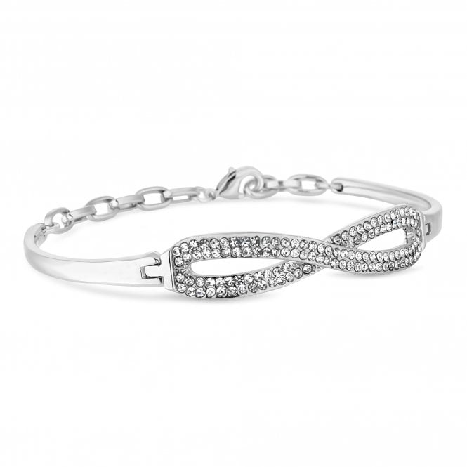 Silver Crystal Infinity Bangle