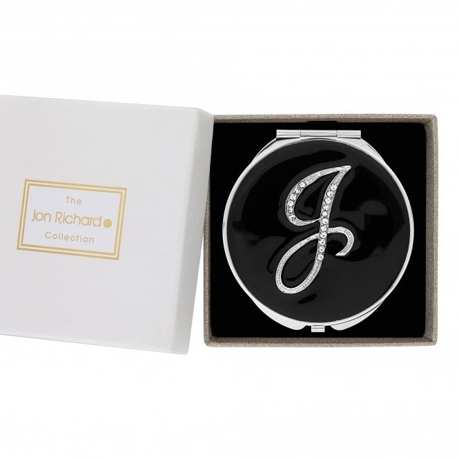 Silver Crystal Initial J Compact Mirror