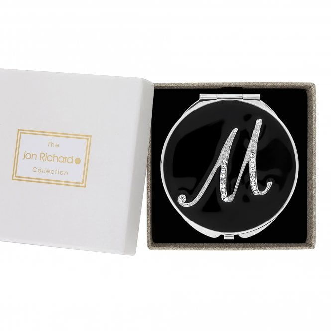 Silver Crystal Initial M Compact Mirror