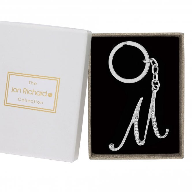 Silver Crystal Initial M Keyring