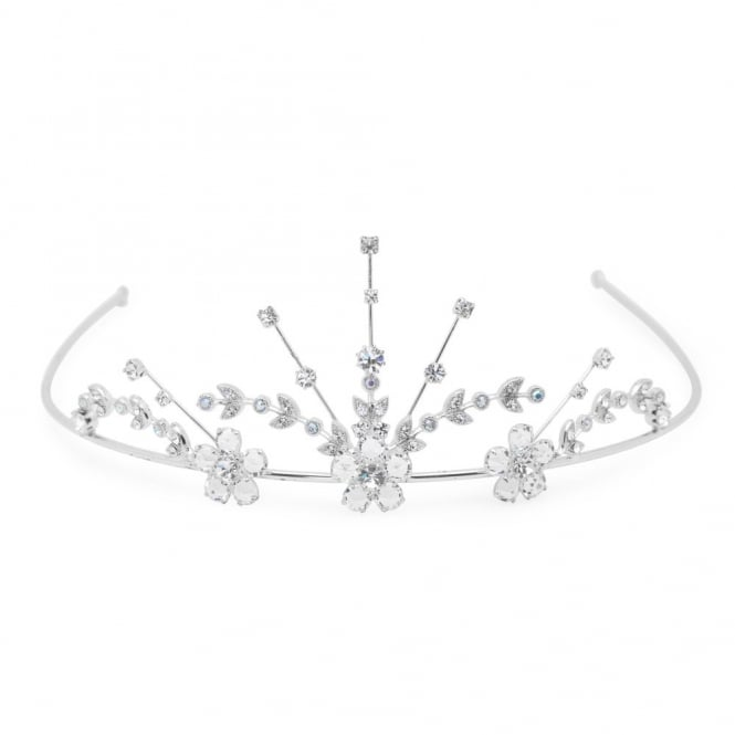 Silver Crystal Flower Statement Tiara